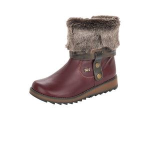 Remonte D8874-35 Ladies Burgundy Leather Lambs Wool Lined Ankle/Calf Length Boot