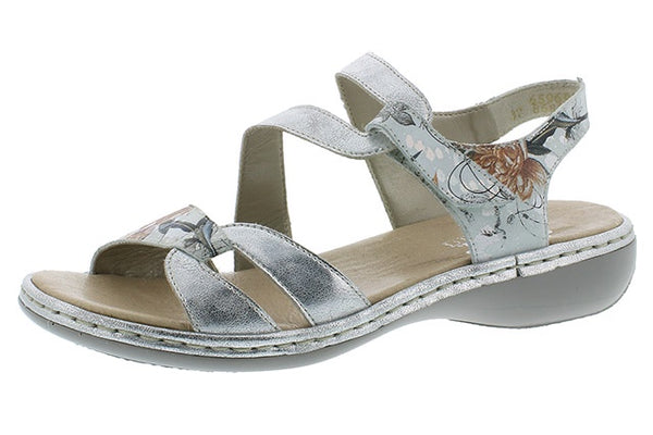 Rieker 65969-82 Ladies Silver Floral Hook and Loop Sandals