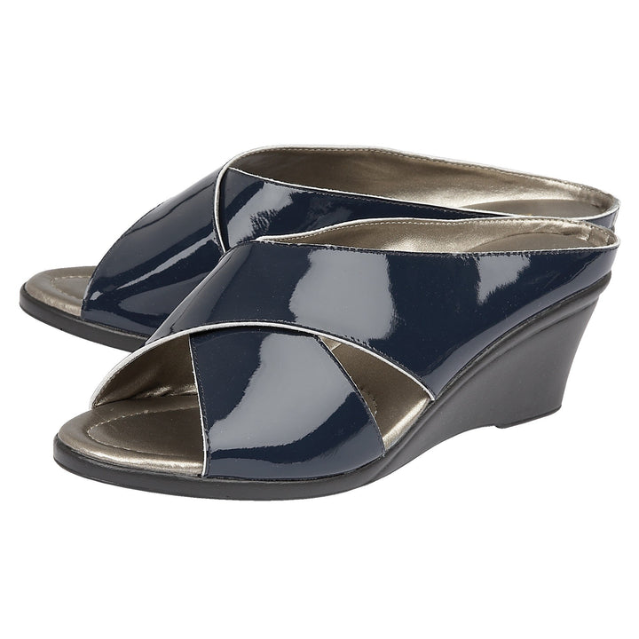 Lotus Trino Navy Patent Leather Sandals - elevate your sole