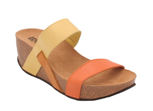 Oxygen Leon Ladies Multi Yellow Orange Leather Wedge Mule