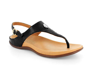 Strive Tropez Black Lizard Slingback Sandals - elevate your sole