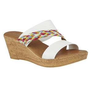 Lotus Jezebel Ladies White Multi Wedge Mule Sandals