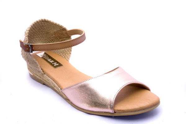 Pinaz Orion Rose Gold Leather Espadrille Sandals