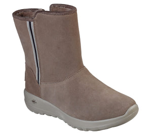Skechers 15526 On The Go Cadet Dark Taupe Suede Ladies Pull on Boots - elevate your sole