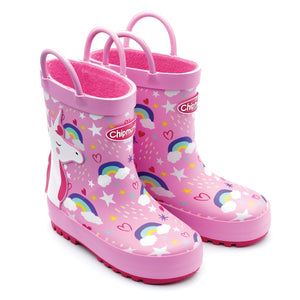 Chipmunk Olympia Unicorn Girls Pink Rainbow Wellies