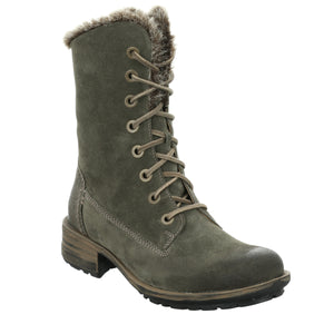 Josef Seibel Sandra 93 Ladies Khaki Green Lace Up Mid Calf Boots