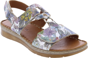 Adesso A6078 Liberty Ladies Metallic Floral Leather Sandals