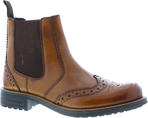 Country Jack Logan 9508 Tan Leather Brogue Chelsea Boots - elevate your sole