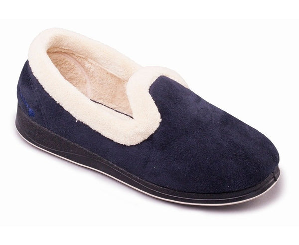 Padders Repose Navy Ladies Wide Fit Slippers