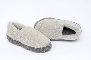 Yoko Full Unisex Two Tone Grey Wool Slippers
