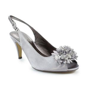 Lunar FLR 081 Sabrina Dark Grey Satin Heeled Ladies Sandal