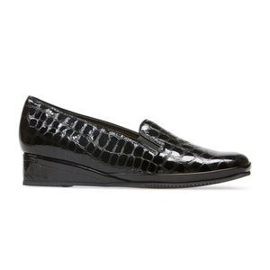 Van Dal Rochester II Black Patent Croc / Black Leather Wedge Shoes D