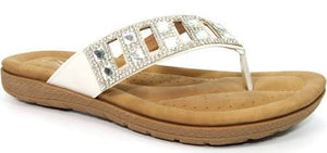 Lunar JLH 985 Ariel Ladies White Toe Post Sandal