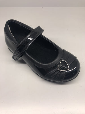 Clarks Dolly Heart Girls Black Patent Leather Shoes