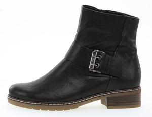 Gabor 92.724.27 Black Leather Ladies Biker Ankle Boot