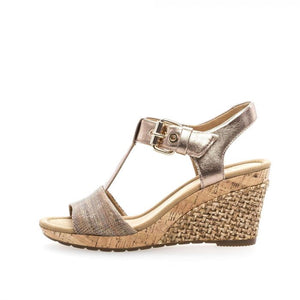 Gabor 82.824.18 Beige Greta Metallic Buckle Wedge Heel Sandals