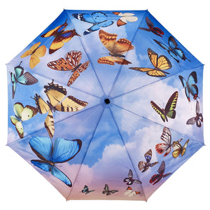 Galleria Swirling Butterflies Folding Umbrella - elevate your sole