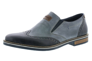 Rieker 13560-14 Mens Wide Blue Navy  Leather Slip On Shoes