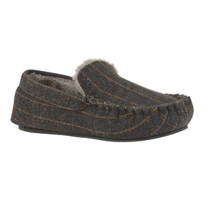 Lotus Ben Mens Grey Pinstripe Moccasin Slipper