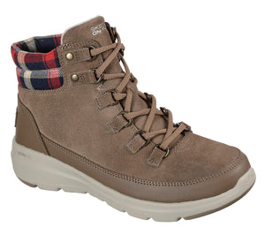 Skechers 144152 Glacial Ultra-Peak Ladies Dark Taupe Suede Lace Up Boot