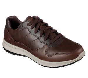 Skechers 65411 Delson Roman Chocolate Classic Fit Air Cooled Memory Foam Lace Up Shoe