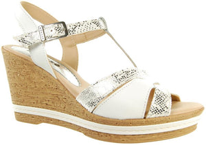 Adesso Tamsin A4250 White Leather T bar Wedge - elevate your sole