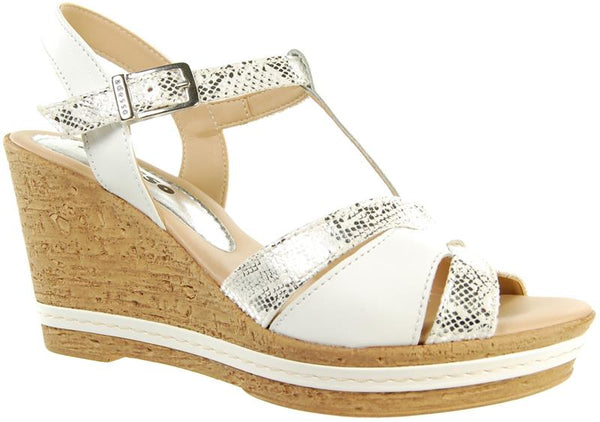 Adesso Tamsin A4250 White Leather T bar Wedge