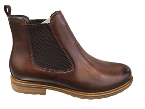 Tamaris 25056-23 Brown Leather Ankle Chelsea Boots