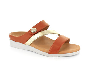 Strive Azore Ladies Sunset Pale Gold Leather Strappy Mule Sandals
