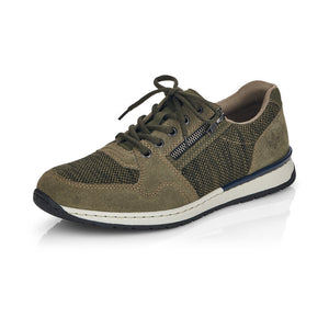 Rieker B5101-54 Mens Wider Fitting Green Lace Up Trainers