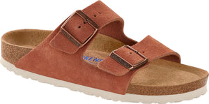 Birkenstock Arizona Soft Footbed Ladies Earth Red Suede Narrow Fitting Sandals