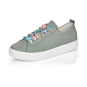 Remonte D0900-52 Ladies Mint Suede Leather Lace Up Trainers