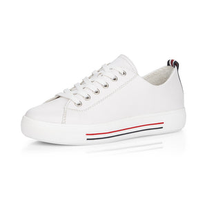 Remonte D0900-80 Ladies White Leather Lace up Trainer
