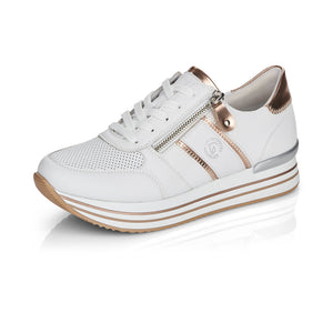 Remonte D1310-81 Ladies White Lace up trainer with small wedge
