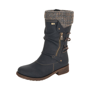 Remonte D8070-01 Ladies Black Calf Length Boot