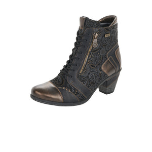 Remonte D8794-02 Ladies Black and Gold Lace Up Ankle Boot