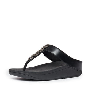 Fitflop CC6-090 Fino Sparkle Ladies Black Toe Post Sandals