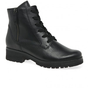 Gabor 52.096.27 Ladies Black Leather Lace Up Boots