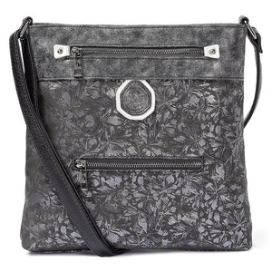 Rieker H1302-93 Ladies Black And Metallic Cross Over Handbag