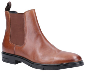 Hush Puppies Sawyer Mens Dark Tan Leather Chelsea Boot