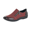 Rieker L1771-35 Ladies Wine Zip Fastening Shoes