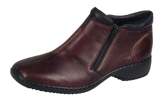 Rieker L3882-35 Ladies Red Leather Ankle Boots