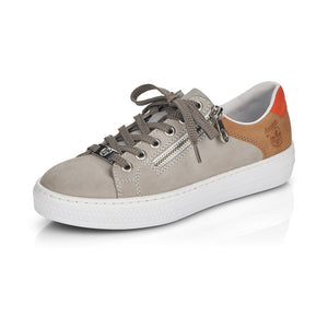 Rieker L59A1-40 Ladies Cloud/Orange/Nude Casual lace up trainer