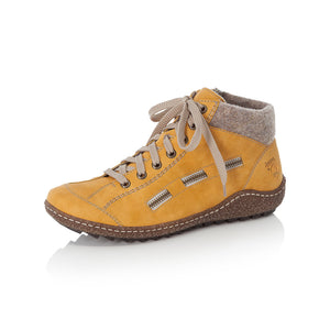 Rieker L7543-69 Ladies Yellow Lace Up Ankle Boots