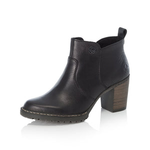 Rieker L9283-00 Ladies Black Heeled Ankle Boots