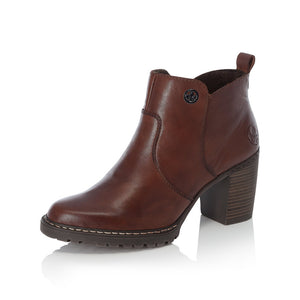Rieker L9283-25 Ladies Brown Heeled Ankle Boots