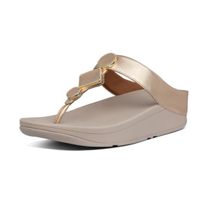 Fitflop BE4-796 Leia Ladies Vintage Gold Leather Toe Post Sandals