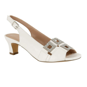 Lotus Aubrey White And Silver Evening Peep Toe Sandal