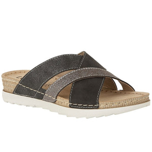 Lotus Gail Ladies Black Mule Sandal
