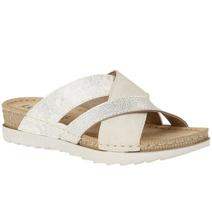Lotus Gail White Ladies Mule Sandal